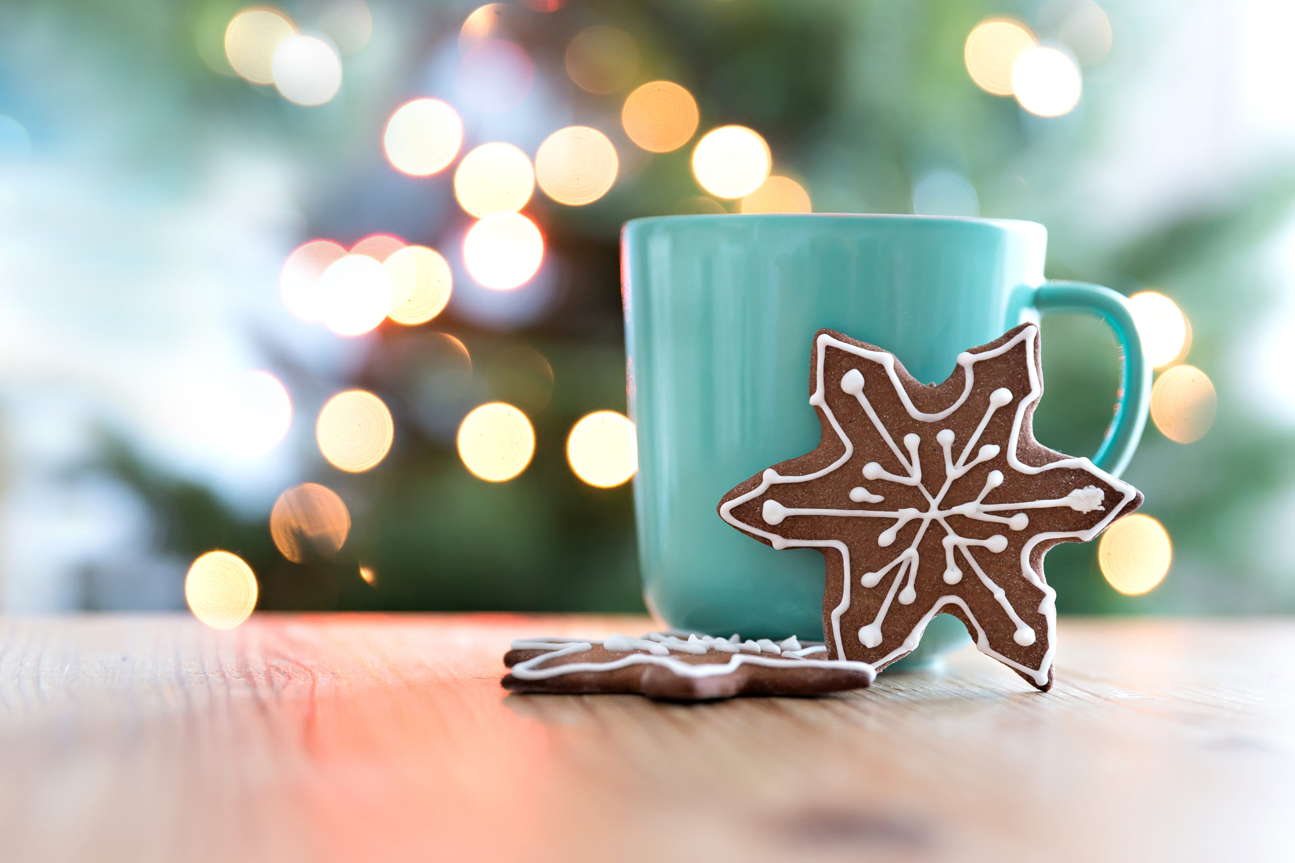 Holiday cookies with green mug